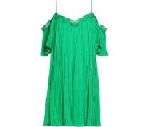 Cold-shoulder lace-trimmed crepe mini dress
