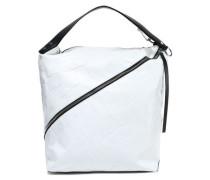 Zip-detailed croc-effect leather shoulder bag