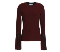 Ribbed-knit Sweater Burgundy