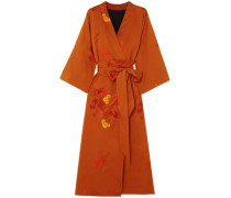 Printed Stretch-silk Midi Wrap Dress Orange