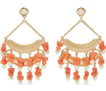 Gold-tone, faux pearl and bead earrings
