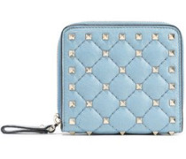 Rockstud Spike Quilted Textured-leather Wallet Sky Blue Size --