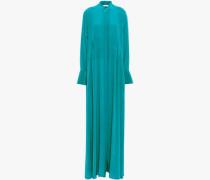 Silk Crepe De Chine Maxi Shirt Dress Teal