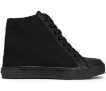 Cindy rubber-trimmed mesh wedge sneakers