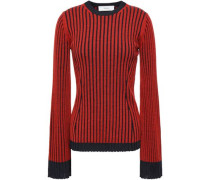 Striped Ribbed Merino Wool And Silk-blend Sweater Brick