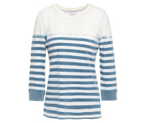 Woman The Poolboy Bleached Striped Cotton-jersey Top Storm Blue