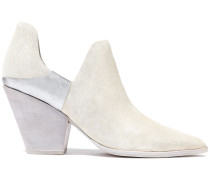 Cathy Metallic Leather-paneled Suede Ankle Boots