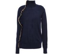 Woman Ruffle-trimmed Wool Turtleneck Sweater Navy
