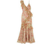 Belle Of The Ball Ruffled Floral-print Silk-organza Dress Sage Green Size 0