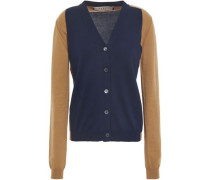 Two-tone Cotton Cardigan Navy