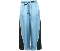 Cropped Tie-dyed Silk-satin Wide-leg Pants Light Blue Size 0