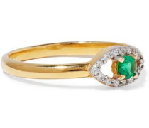 Gold-plated sterling silver, emerald and crystal ring