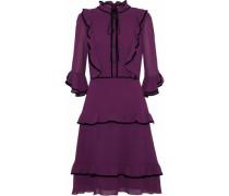 Velvet-trimmed ruffled chiffon dress