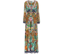 Woman The Jungle Book Crystal-embellished Printed Silk Crepe De Chine Maxi Dress Animal Print