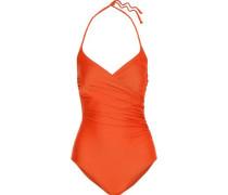 Savannah Wrap-effect Halterneck Swimsuit Bright Orange