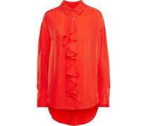 Rosalie Ruffled Twill Shirt Tomato Red