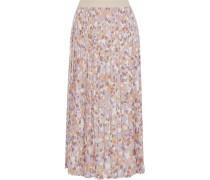 Pleated printed silk-blend crepe de chine midi skirt