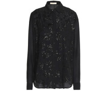 Sequin-embellished crepe de chine shirt