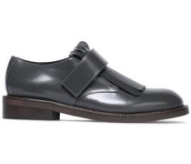 Fringed Glossed-leather Brogues Dark Gray
