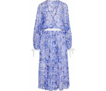 Wrap-effect floral-print silk-georgette dress
