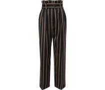 Wenyana Belted Striped Wool-blend Straight-leg Pants Black