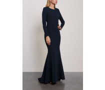 Woman Bree Open-back Crepe Gown Midnight Blue