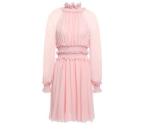 Ruffle-trimmed Gathered Silk-georgette Mini Dress Baby Pink