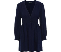 Button-embellished Smocked Cotton-seersucker Mini Dress Navy