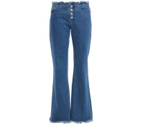 Woman Marques Almeida Frayed High-rise Bootcut Jeans Mid Denim