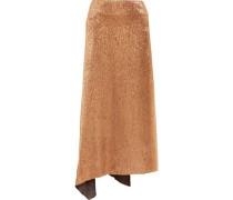 Asymmetric metallic silk-blend midi skirt