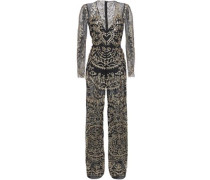 Layered Sequin-embellished Point D'esprit And Tulle Jumpsuit Black