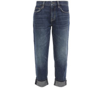 Woman The Fling Cropped Distressed Mid-rise Slim-leg Jeans Dark Denim