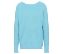 Cutout Ribbed-knit Sweater Turquoise
