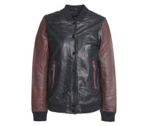 Two-tone Leather Bomber Jacket Brown Size 14