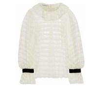 Velvet-trimmed Ruffled Lace Blouse White