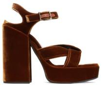 Twisted velvet platform sandals