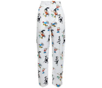 Callie Printed Cotton-poplin Straight-leg Pants White