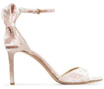 Woman Bow-embellished Velvet Sandals Pastel Pink