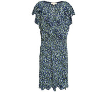 Wrap-effect Embroidered Floral-print Crepe Mini Dress Navy