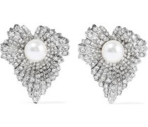 Woman Grape Leaf Silver-tone, Faux Pearl And Crystal Earrings Silver