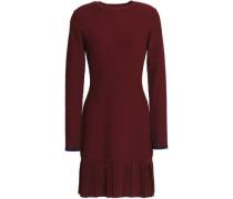 Pleated stretch ribbed-knit mini dress
