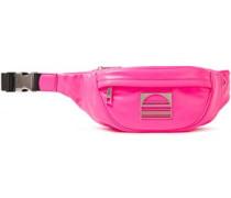 Woman Logo-embellished Neon Textured-leather Belt Bag Bright Pink