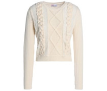 Tulle-trimmed ribbed and cable-knit wool sweater
