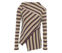 Asymmetric Wrap-effect Striped Ribbed Cotton-jersey Top Multicolor