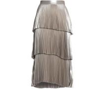 Tiered pleated satin midi skirt