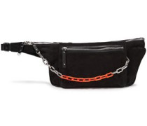 Woman Chain-trimmed Suede And Leather Belt Bag Black