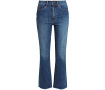 Frayed faded mid-rise bootcut jeans