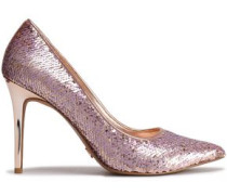 Claire Sequined Faux Leather Pumps Rose Gold