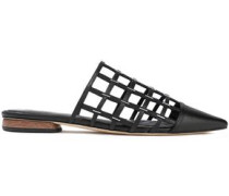 Eddi Cutout Embellished Leather Slippers Black