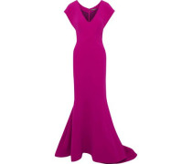 Fluted Crepe Gown Magenta Size 14